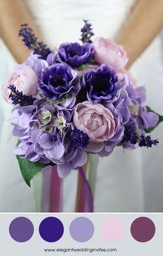 pantone ultra violet, lavender and blush wedding color palette