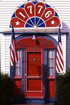 1776 Door Entrance. Red White & Blue. Very Patriotic Front Entrance.