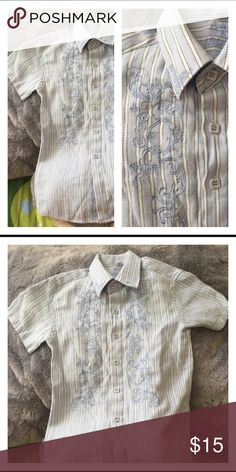 Stylish Boy Button Down Trendy short sleeve button down shirt. Fashion forward detail in light blue and white. Excellent new condition.🎈 Shirts & Tops Button Down Shirts