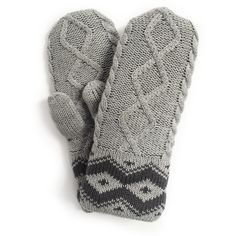 Muk Luks Women's Braided Marl Mittens ($42) ❤ liked on Polyvore featuring accessories, gloves, grey, gray gloves, muk luks mittens, long gloves, long mittens and grey gloves