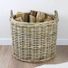 Grey & Buff Rattan Round Wicker Log Basket - The Basket Company