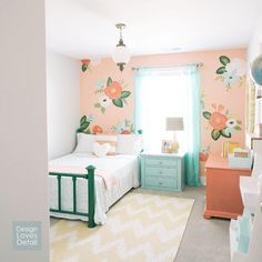 Girl's bedroom inspired by Rifle Paper Co. by Design Loves Detail (via House of Turquoise). Audrey's room with coral Girls Bedroom Furniture, Furniture Sets, Furniture Stores, Furniture Nyc, Bedroom Themes, Bedroom Colors, Kincaid Furniture, Furniture Dolly, Furniture Market