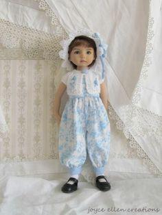 "13"" Effner Little Darling BJD Blue Toile Rompers OOAK Handmade Set by JEC | eBay"