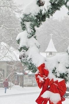 Christmas red ribbon and snow