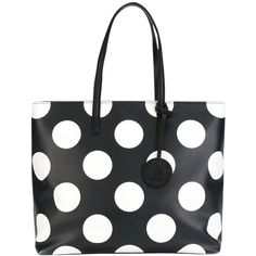 Pre-owned Moschino New Large Polka Dot Black/white Tote Bag (1.195 BRL) ❤ liked on Polyvore featuring bags, handbags, tote bags, zip top leather tote, leather totes, leather tote handbags, black and white polka dot purse and leather purses