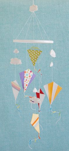 Kite Mobile - Baby Child Mobile - Custom - You Pick Fabric/Color. via Etsy.