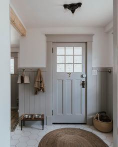 We took a tiny purple mud room and transformed it into a Traditional Farmhouse Laundry and Mudroom over a 38 week period. Family Room Addition, Large Family Rooms, Large Laundry Rooms, Small Laundry, Room Additions, Piece A Vivre, Farmhouse Interior, Room Doors, Mudroom