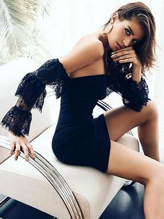 Sexy Party Dress Black Long Sleeve Dress Lace Off The Shoulder Bodycon Dress Fall Collection, Trendy Collection, Sexy Party Dress, Girls Party Dress, Fall Fashion Trends, Ootd Fashion, Bodycon Outfits, Bodycon Dress, Club Dresses