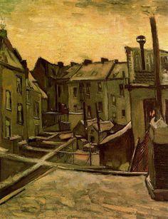 Vincent van Gogh, Patios traseros de Amberes con nieve, 1885