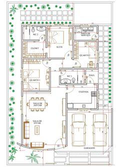 Projeto de casa térrea de 3 quartos com 127,87m²