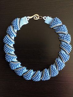 "Beadwoven necklace in the ""wave"" form of flat Cellini peyote stitch - by PascalesPearls"