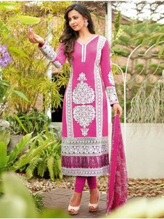 Pink Lawn Cotton Suit With Resham Embroidery Work