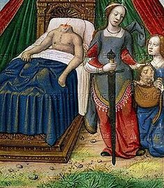 """""""Judith & Holofernes"""" Anonymus artist, From the Book of Judith, Illuminated manuscript Medieval Paintings, Old Paintings, Medieval Life, Medieval Art, Medieval Drawings, Medieval Manuscript, Illuminated Manuscript, Book Of Judith, Judith And Holofernes"""