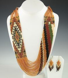 Artist Rena Charles Hand-made this Eye-Catching Beaded Necklace with Matching Earrings.