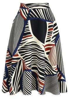 Abstract Leaf A-line Skirt in Navy - New Arrivals - Retro, Indie and Unique Fashion