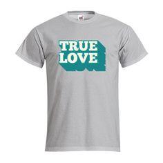 """T-shirt Homme FRUIT OF THE LOOM Gris Chiné - T-shirt """"TRUE LOVE"""" #amour #saintvalentin #love #truelove #comboutique #tshirtpersonnalisé"""