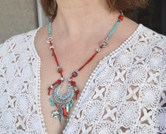 Turquoise Necklace Coral Necklace Turquoise and Coral by LKArtChic