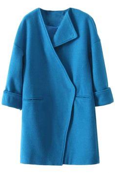 Classic Solid Draped Collar Wool Coat - OASAP.com