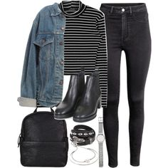 Outfit for uni with a denim jacket by ferned on Polyvore featuring polyvore, fashion, style, Levi's, H