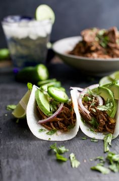 These Paleo Crock Pot Balsamic Braised Short Rib Tacos will be your new favorite Crock Pot recipe! Cuz Tacos... duh! They are sweet & spicy, easy, healthy, and totally deliver on flavor! You're gonna be in love! | joyfulhealthyeats.com #glutenfree
