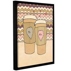 "Mercury Row Maroon Lattes Framed Painting Print on Gallery Wrapped Canvas Size: 24"" H x 18"" W x 2"" D"