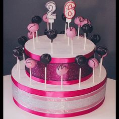 Adding number candles and some sparkle to a cakepop display makes for a amazing centerpiece at any birthday party