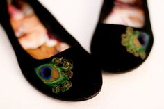 Black Peacock Flats  Size 75 by LaPlumeEthere on Etsy, $45.00