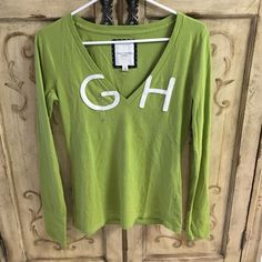 Gully Hicks Long Sleeve Tee Very soft long sleeve v-neck cotton t-shirt. Pistachio green and white. Never worn. No tags but has size sticker still on it. Size large fits more like a medium stretch wise. Gilly Hicks Tops Tees - Long Sleeve