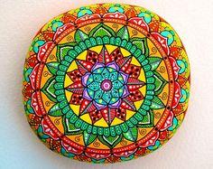 Hand Painted Stone Adriatic Sea Mandala by ISassiDellAdriatico Mandala Painting, Pebble Painting, Dot Painting, Mandala Art, Stone Painting, Stone Mandala, Stencils, Buddha Canvas, Painted Rocks