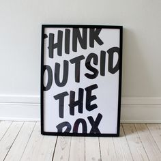 """think outside the box"" is to look further and try to not think of the obvious things, but to think beyond them. Normally, this advice belongs to creative people. However, this poster is an attempt to make everyone think this way. Plakat Design, Graphisches Design, Funny Design, Word Design, Print Design, Design Ideas, Boutique Lingerie, Poster Design, Print Poster"
