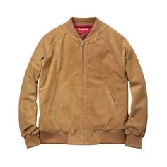 5e4973a5cb12 Supreme Suede Bomber ❤ liked on Polyvore featuring outerwear