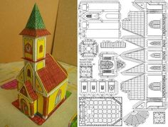 The great Hungarian designer Somodi Zoltan shares with us a new paper model a Hungarian Church. O grande designer húngaro Somodi Zoltan. Christmas Village Houses, Putz Houses, Christmas Villages, Mesh Christmas Tree, Christmas Paper, Christmas Crafts, 3d Paper Crafts, Paper Toys, Advent House