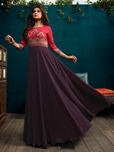 Red And Purple Minimalist Embroidered Anarkali is specifically designed to make you look perfect as a bride and bridesmaids. This suit set features thread, zari and resham bunch embroidered detail on fancy satin silk and georgette top Long Anarkali Gown, Long Gown Dress, Anarkali Suits, Saree Dress, Red Gowns, Indian Gowns, Lehenga Designs, Gowns Online, Indian Designer Wear