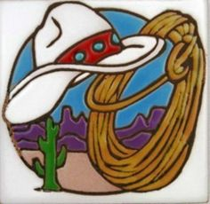 #New! #Cowboy Hat Lasso #Western Decor Ceramic #Tile Spoon Rest Coaster