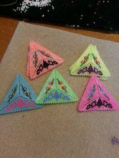 Beaded Triangle Earrings Peyote Triangles 5 by SmallBearCreations