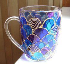Glass Mermaid Mug Hand Painted Mug Coffee Mug Tea Cup by ArtMasha