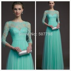 2014 New Blue Scoop Neck Tank Lace Sheer Three Quarter Sleeves Pleated A line Evening Dresses Gowns for Pregnant Women US $118.00