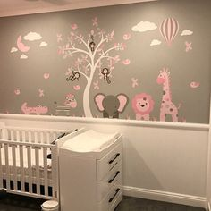Jungle Animals Wall Stickers, Girls Pink and Grey nursery Decals. Giraffe and Elephant around a white tree mural. Jungle Animals Wall Stickers Girls Pink and Grey nursery Jungle Nursery Boy, Baby Girl Nursery Themes, Baby Boy Rooms, Baby Room Decor, Elephant Nursery Girl, Nursery Ideas Girl Grey, Elephant Theme, Animal Nursery, Baby Girls