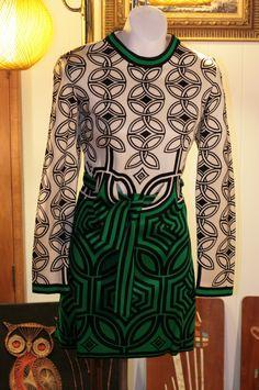 Mod op art Vintage 1960's Mr Dino pucci Geometric  dress by peacockowls, $275.00