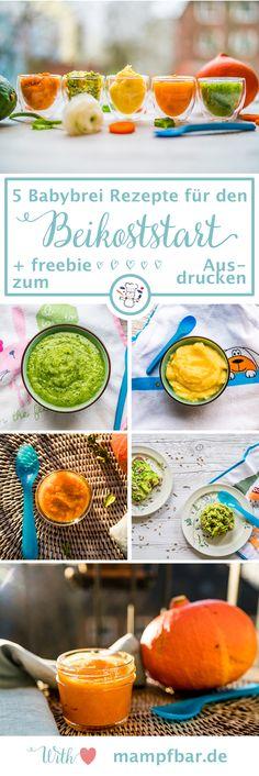 Wir haben fünf einfache Babybrei-Rezepte für den Beikoststart für dich und dein Baby. Klick hier und erhalte einfache Rezepte für Karotten-, Kürbis-, Pastinake-, Zucchini- und Avocadobrei + ein Freebie zum Ausdrucken.