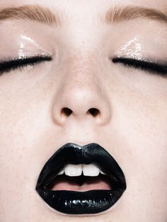 I've been loving black lips lately. Wearing it matte would tone down the goth a bit. Sadly, I'm going to have to wait until Halloween to rock this look.