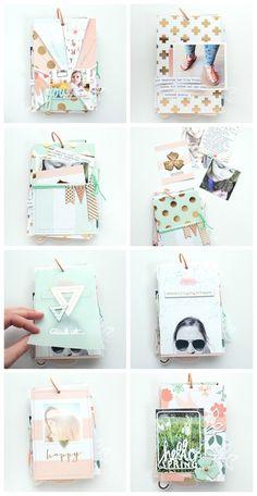 "Minialbum ""Our First Days Of Spring"" scrapbook love ideas gold mint impresiones fotos recuerdos album gift"