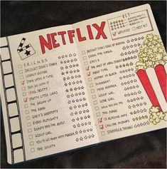 Double spread of your Netflix wish list for the bullet journal