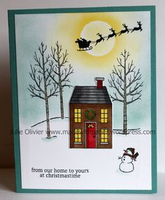 Today's card is a combination of 2 Christmas stamp sets: Holiday Homes and White Christmas. Those 2 sets are really adorable! A little sponging and coloring makes this card really special! The hous...
