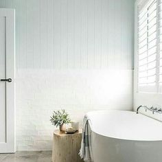 We get asked a lot about what to use in bathrooms. Our Easyclad is manufactured especially for wet rooms. 's bathroom uses… Bathroom Renos, Laundry In Bathroom, White Bathroom, Bathroom Flooring, Bathroom Renovations, Small Bathroom, Garage Bathroom, Hygge, Wet Rooms