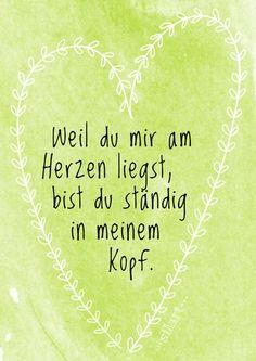 Weil du mir am Herzen liegst, Lettering Card, Quote Art, Word Art, Statements, Zitate, Sprüche, Karten