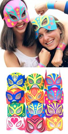 Printable lucha libre masks template pattern by happythought.co.uk