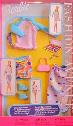 Barbie Fashion Avenue Fashions Clothes 1+2+3 Over 20 Combinations! (2002) Barbie http://www.amazon.com/dp/B004GIXLH6/ref=cm_sw_r_pi_dp_oTvXtb08K0JXZRC1