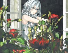 Anime Original Girl Sad White Hair Flower Wallpaper Sad Anime Girl, Manga Girl, Anime Girls, Manga Anime, Gothic Anime, Character Wallpaper, Anime Artwork, White Hair, Anime Style