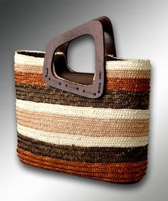 straw clutch bag with wooden handle